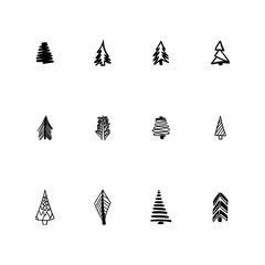 Vector collection of hand drawn christmas trees