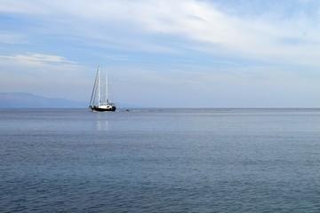 Sailing yachts at sea. Seascape. Ships at sea. Gokova. Marmaris. Turkey