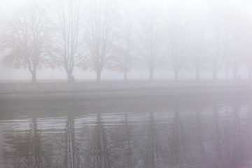 thick fog in the autumn city park near the river
