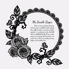 Lace rose funeral card by hand drawing.Rose with butterfly vector art highly detailed in line art style.Black flower for card or pattern.