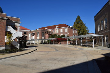 Observatory bus terminal and Lewis Hall at the University of Mississippi