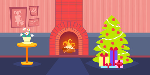 living room decorated merry christmas happy new year pine tree fireplace home interior decoration winter holiday concept flat horizontal vector illustration