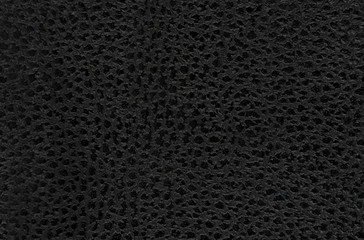 Black natural leather texture macro. Dark material with a pattern, wallpaper background