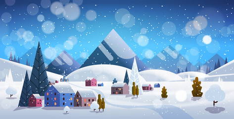 Fotobehang Blauw winter village houses mountains hills landscape snowfall background horizontal flat vector illustration