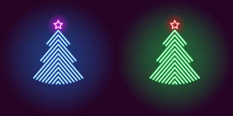 Neon Christmas tree, glowing xmas tree. Vector