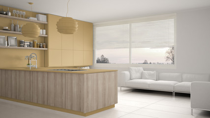 Modern yellow and wooden kitchen with shelves and cabinets, sofa and panoramic window. Contemporary living room, minimalist architecture interior design