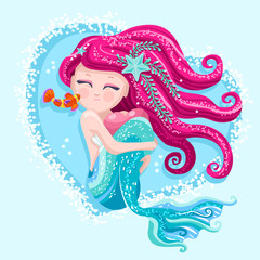 Cute mermaid hair with fishes for greet book children artwork. Fashion kids. Starfish and waves with a pretty sea adorable water girl. Underwater fairy hearth of the ocean vector illustration.