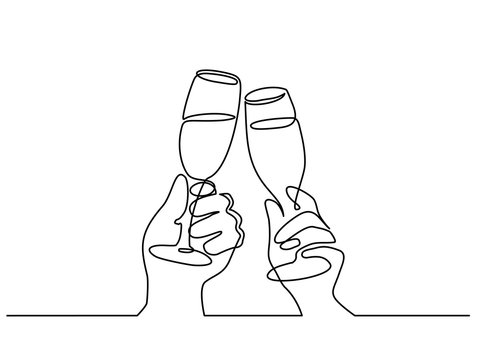 Two Hands cheering with glasses of champagne
