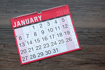Calendar page showing the month of January 2019