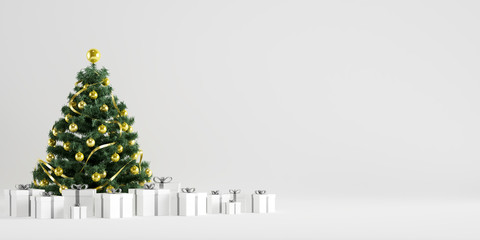 Christmas Tree Winter Decoration with Gift Boxes in White Background