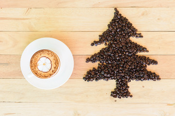 coffee beans with Christmas tree shape