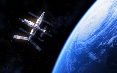 Fotomurales - Russian Space Station And Blue Planet Earth