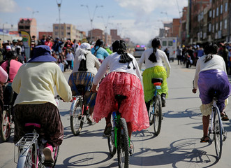 Participant are seen at the Cholita bike race in El Alto
