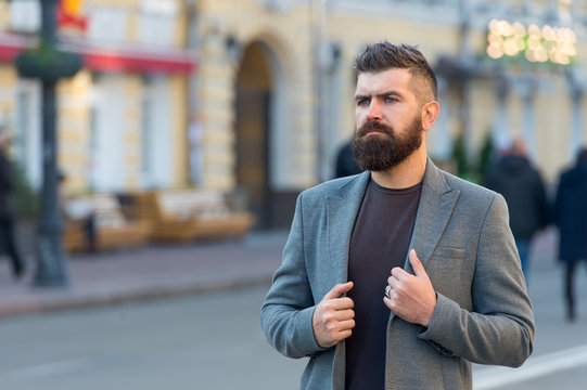 Man bearded hipster stylish fashionable coat. Bearded and cool. Barber tips maintain beard. Hipster appearance. Beard fashion and barber concept. Stylish beard and mustache fall and winter season