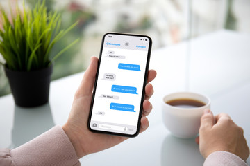 female hand holding phone with app messenger on the screen