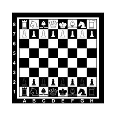 Chess on board. Vector illustration, flat design.