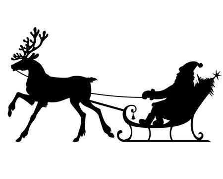Silhouette Santa riding on reindeer sleigh