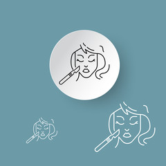 vector line icons, sign and symbols in flat design on paper cut circle and hextagon shape medicine and health