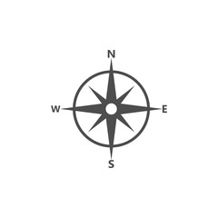 Compass, navigation icon. Vector illustration, flat design.