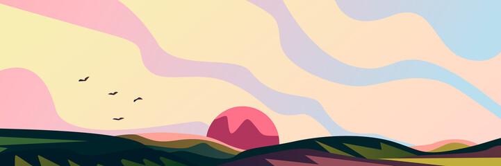 Printed kitchen splashbacks Beige Beautiful landscape background. Field, meadow, birds and sun.