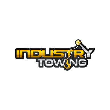 Crane Hook Towing industri shinny word mark , letter mark logo vector
