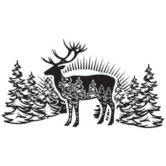 Stylized monochrome vector illustration with deer and forest
