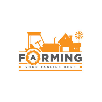 Farm logo, badge, label with tractor, house and water tower over raising sun background, vector illustration.