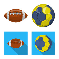 Vector illustration of sport and ball symbol. Collection of sport and athletic stock vector illustration.