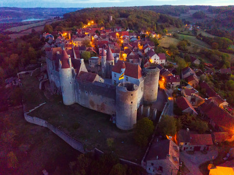 Night aerial view of Chateau de Chateauneuf, France