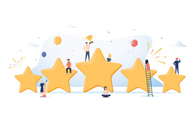 Flat isometric vector concept of five stars, best rating, customer feedback, positive review. Winner award First place