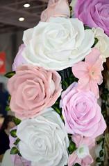 Colorful roses vintage wedding decoration at wedding exhibition.