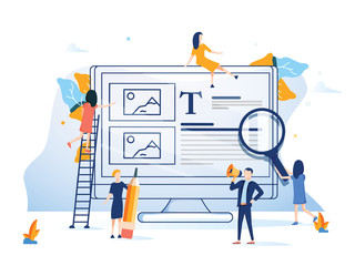 Business team presenting a website flat design style colorful illustration. Background computer internet technology.