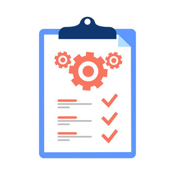 Clipboard and cogwheel, technical support check list, team work solution, project management, software upgrade. Testing