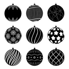 Set of silhouettes christmas balls with different textures. Christmas bauble decorated with black and white patterns. Vector illustration.