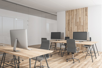 Contemporary coworking wooden office