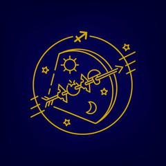 Vector bow and arrow or Sagittarius zodiac sign, logo, tattoo or illustration.  Food horoscope for kids.