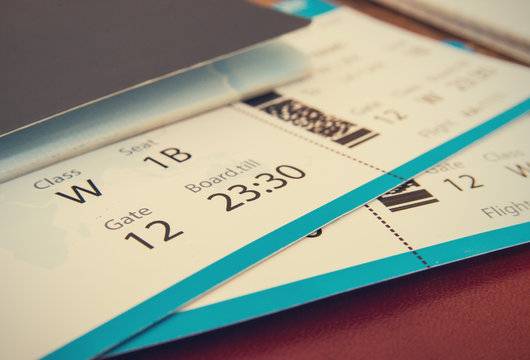 tickets with passport background