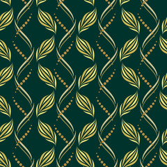 Seamless vector wavy pattern with abstract floral and geometric elements in gold-beige colors on dark background