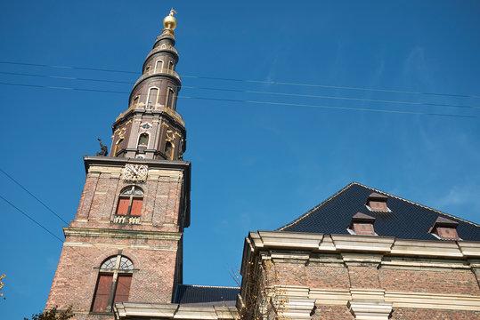 Copenhagen, Denmark - October 10, 2018 : View of Vor Frelsers kirke spire (our saviour church)