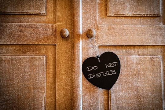 Just married or Do not disturb heart on vintage wood door