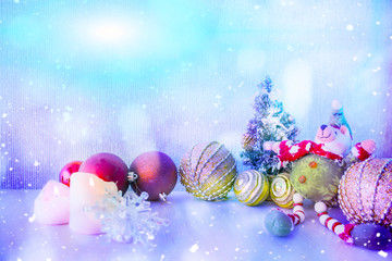 Foto op Canvas Kerstmis new year background with Christmas decorations