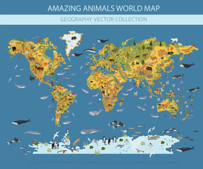 Flat world flora and fauna map constructor elements. Animals, birds and sea life isolated big set. Build your own geography infographics collection