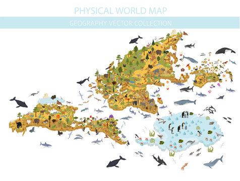 Isometric world flora and fauna map constructor elements. Animals, birds and sea life isolated big set. Build your own geography infographics collection