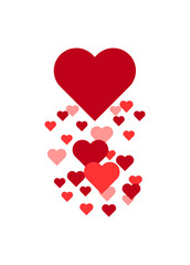 Flying hearts love icon, symbol on shadow background