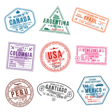 Set of travel visa stamps for passports. International and immigration office stamps. Arrival and departure visa stamps