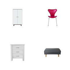 Set of furniture realistic symbols with closet, seating, pouf and other icons for your web mobile app logo design.