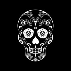 Vector white sugar skull with floral pattern on black background. Illustration for Mexican Day of the Dead Celebration Festival