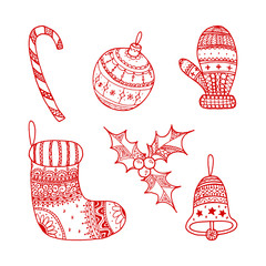 Vector set of red Christmas decorative symbols - candy cane, tree ball, mitten, sock, holly, christmas bell. Red decorative Christmas symbols on white background