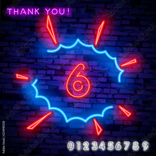 Neon city font sign number 6, signboard six  Vector