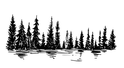 Hand drawn sketch of pine forest. Vector background.